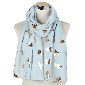 Luxury-2020 Fashion Cute Cat Print Gold Foil Scarf Shawls Women Soft Long Animal Pattern Trendy Wrap Scarves Hijab 5 Color Free Shipping