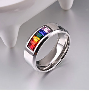 Europe And The United States Hot Inlaid Colorful Diamond Titanium Steel Rainbow Flag Ring Trend Jewelry Wholesale Free Postage
