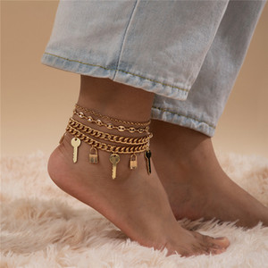 4sets Lot European Retro Lock Key Anklets Punk Style Multi Layer Link Chain Women Alloy Love Gold White K Anklet Foot Jewelry Accessories