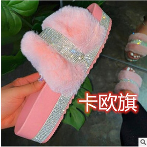 GoiGd Autumn and winter 2020 new fashion plush for women Autumn and winter 2020 new fashion Slippers plush slippers for women