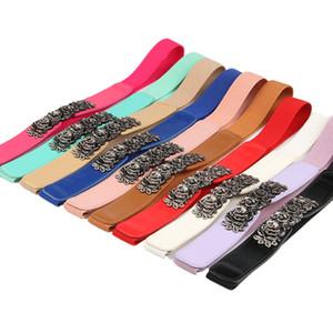 Fashion Vintage Belts for Women Girls Rose Flower Shaped Buckles Waist Cummerbund Slim Belts of Coat Sweater