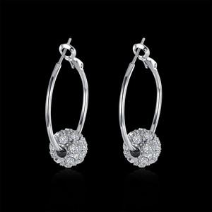 Vente chaude 18 carats en or / platine Platinum Balle Baller Berce Boucles d'oreilles Véritable Costume de mode en cristal autrichien Femmes Boucles d'oreilles Bijoux pour femmes