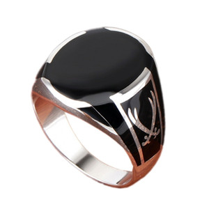 Bocai Real S925 Pure Silver Men Ring Black Agate Gemstone Ring de moda para hombre Z1121