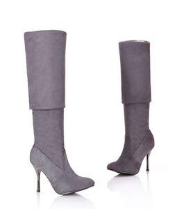 Размер MORAZORA Plus 34-43 новые ботинки над коленом сапоги женщин на высоких каблуках осени заостренный носок флока черные тонкие высокие сапоги