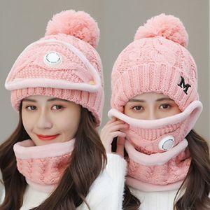 Winterfrauen Mütze Frauen Maske Atemventil Anzug Wollhut Neu Warme gestrickte Hut Radfahren Plus Samt Schal Set IIA911