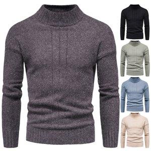 Herren Turtscheck Halbe Baumwolle Pullover Herbst Winter Dicke Warme Feste Slim Fit Kleidung Gestrickte Casual Pullover Pull Homme