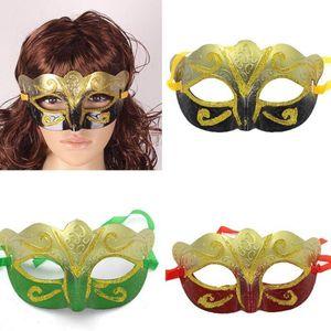 Promoción venta máscara de fiesta con máscara de oro brillo veneciano unisex chispa masquerade máscara veneciana MARDI GRAS máscaras Masquerade DHD3771