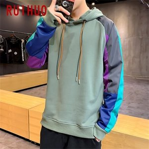 Ruihuo Yeni Patchwork Kazak Erkekler Hip Hop Moda Erkek Hoodies Streetwear Kapşonlu Tişörtü M-3XL Y201123