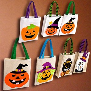Halloween Candy Buskets Child Kids Candy Handbags Carry Cartoon Linen Bag Eggs Storage Sacks Desk Baskets Gift Bags Z633