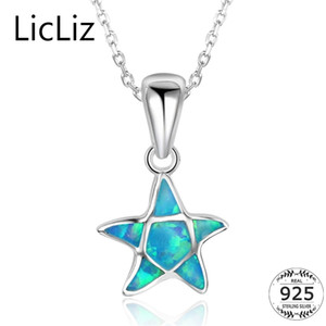 LicLiz 925 Sterling Silver Star Pendant Necklaces Womens Blue Fire Opal Necklace Collar Animal Starfish Necklace Chains LN0255 201223