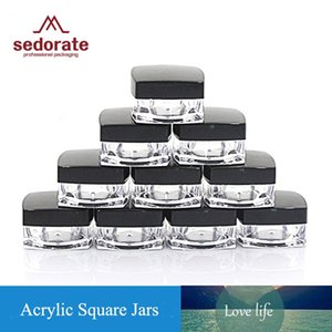 Sedorate 50 Pcs Lot Acrylic Jars for Cosmetic Refillable Bottle with Black Cap Square Cream Jars 3g 5g Case Container JX058-2