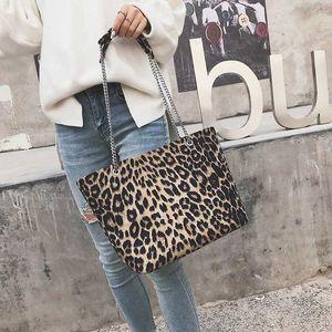 Designer-Big Capacity Leopard Tote Bags For Women 2019 Handbags Women Bags PU Leather Travel Chains Female Shoulder