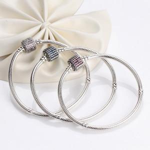 Classic Charm Chain Basic Snake Bracelet Fit Pandoras Moments S925 silver sparkling Bangles DIY Jewelry Christmas Gift Bracelets