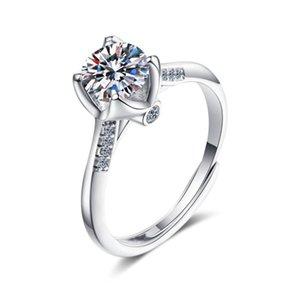 Anziw 925 Стерлинговое серебро Moissanite Diamond 1.0CT Мода Классическое Обручальное кольцо с регулируемым размером для женских ювелирных изделий