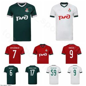2021 Soccer Lokomotiv Moscou Jersey Home 9 Smolov 59 Miranchuk 7 Krychowiak 6 Barinov 17 Zhemaledinov 88 Kits de chemise de football Lisakovic comme