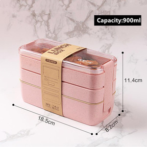2020 Hot Sale 900ml Healthy Material Lunch Box 3 Layer Wheat Straw Bento Boxes Microwave Dinnerware Food Storage Container Lunchbox