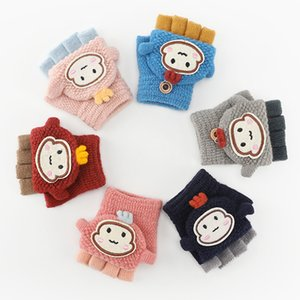 Cute Children's Knitted Gloves For Autumn and Winter Warmth and Velvet Thickened Finger Flap Antifreeze Gloves
