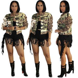 ارتفاع الخصر جاكيتات إمرأة التمويه ليوبارد المرقعة طويلة الأكمام التلبيب الرقبة معاطف الأزياء عارضة سميكة النساء قميص