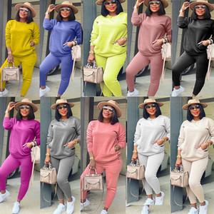 Kadınlar Eşofman İki Adet Set Yeni Pure Color Pamuk Triko Uzun Pantolon Bayan Moda Leisure Suit Sonbahar Ve Kış Sportwear Kıyafetler 2020
