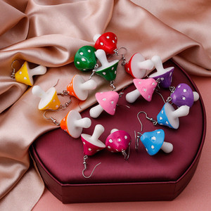 Fashion Women Sweet Fresh Handmade Plastic Simulation Mushroom Long Pendant Earring Jewelry Accessories Gift 8 colours