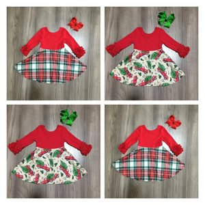 Girlymax Christmas Red Tree Truck Plaid Winter Baby Girls Cotton Chlidren Clothes Milk Silk Twirl Dress Knee Length Match Bow F1203