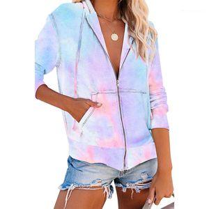 Womens Outerwear Fashion Cardigan con paquete de ropa para mujer Tie tinte Impreso Abrigo para mujer Diseñador con capucha suelta