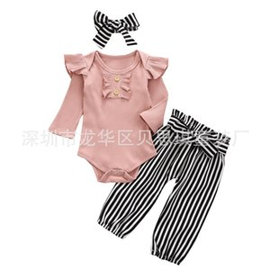 New Products Baby Clothing Two Colors Stripe Flower Long Sleeves Belt Trousers Headwear Three Pieces Sets Autumn Winter Hot Sale 25bs M2