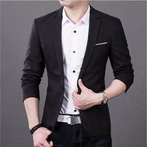 3XL Plus Size Korean Style Men blazer slim fit cotton Suit Jacket black blue Male blazers Mens coat Work Wedding Wear Jacket Top