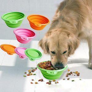 Plato plegable plegable de silicona de silicona de silicona de color de caramelo de color de caramelo Puppy Portátil portátil Doogie Alimento Alimentador plato
