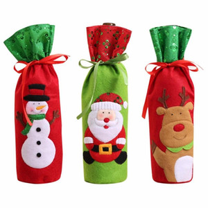 Free shipping 1 Piece Red Wine Bottle Cover Bags Christmas Dinner Table Decoration Home Party Decors Santa Claus For New Year