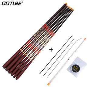 Goture 3.0M-7.2M Telescopic Fishing Rod 3 7 Power Carbon Fiber Tenkara Stream Fishing Rod Pole + Float + line+3 Top Tips Tackles J1210