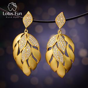 Lotus Fun Real 925 Sterling Silver Natural Handmade Designer Fine Jewelry Luxury Aster Flower Petals Dangle Earrings for Women Z1128