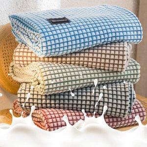 Solid Striped Blanket Flannel Super Soft Blankets Warm Fluffy Bed Linen Bedspread For Sofa Bedroom Decor Portable Car Travel