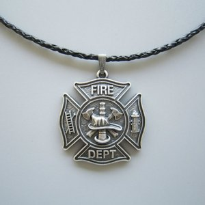 New Jeansfriend Silver Plated Hero Firefighter Fire Dept Charm Leather Necklace Also Stock In US NECKLACE-OC010SL