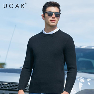 UCAK Brand Solid Color Thick Sweaters Men Clothes Classic Casual O-Neck Pullover Pull Homme Winter New Fashion Arrivals U1041