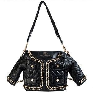 European Designer Motorcycle Bags Luxury Jacket Shape Messenger Bag Ladies Chain PU Leather Clothing Women Handbag