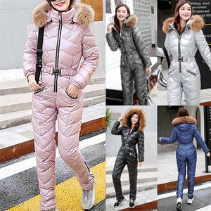 New Winter Warm Women's Plush Hooded Jumpsuits Parka Padded Sashes Ski Suit Straight Zipper One Piece Casual Overalls Tracksuits