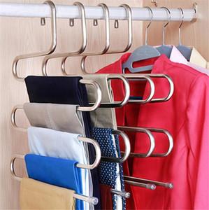 Accueil chaude 5 couches de vêtements en acier inoxydable Cinters Shape Pantalon Storage Cintres de rangement Vêtements Crochet de rangement multicouche