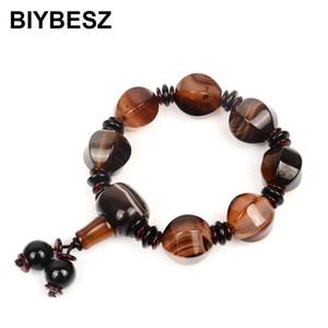Irregular Natural agat bead Charm Round Bead Elastic Bracelets Tibetan Men Wrist Jewelry Charm Beaded Daily accessories For Men