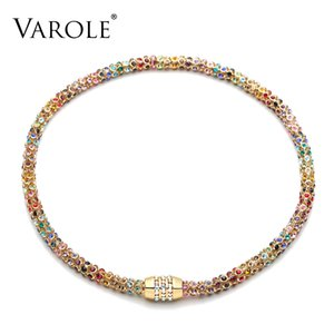 VAROLE Colorful Crystal Mesh Chain Choker Necklace Women Gold Color Chunky Necklaces Fashion Jewelry Party Collier