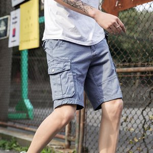 Summer Mens Cargo Shorts Multi Pocket Gray Solid Color Shorts Male 100% Cotton Homme Casual Male Trousers Streetwear