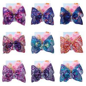 104Cores Bebê Meninas Bow Cabelo Clipes Sereia Trevo Flamingo Impressão Acessórios De Cabelo Barrettes Crianças 8 Polegadas Cabeçalho Cabelo Arcos Com Clip C6580