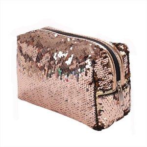 2019 nuevas lentejuelas brillo bolsas cosméticos de doble color lentejuelas bolso cosmético bolso maquillaje bolsa mujer sirena fiesta embrague bolsas