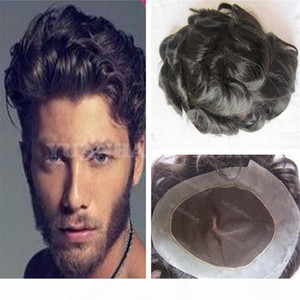 High Quality 1B Black Loose Wave Virgin Brazilian Hair 100 Human Hair Toupee Men Free Shipping