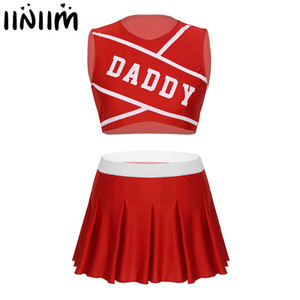 Iiniim Frauen Sets Erwachsene Charming Cheerleader Cosplay Bühne Kostüm Dancewear Hot Competition Crop Top Mit Mini Faltenrock T200702