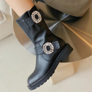 PXELENA Designer Flower Crystal Genuine Leather Riding Knight Boots Women Autumn Winter 2020 Shoes Heel Motorcycle Mid Calf Boot