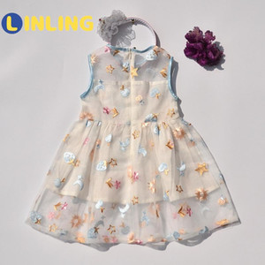 LINLING 2020 Girl Lace Costume for Children Little Girl Dress Clothes Toddler Summer Clothes Children Beauty Dress V312