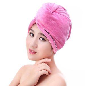 여성용 헤어 캡 마이크로 화이버 마른 머리카락 목욕 타월 버튼 흡수성 빠른 건조 Turban 래핑 된 헤어 모자 욕실 액세서리 OWB3022