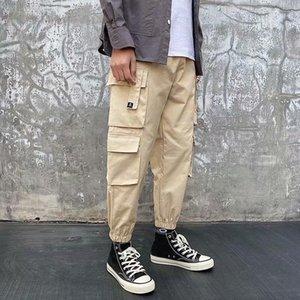 Mens Cargo Calças 2020 Nova Moda Street Attire Boy Múltiplos Bolsos Loose Cargo Calças Casuais Harajuku Calças de Sweatpants Men1
