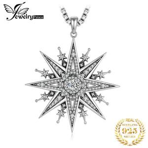 JewelryPalace Vintage Gothic Cubic Zirkonia North Star Anhänger Halskette ohne Kette 925 Sterling Silber Anhänger für Frauen Q1120